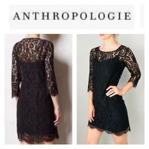 Anthropologie HD In Paris Black Lace Overlay Dress